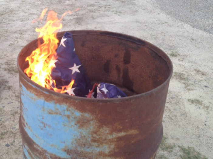 American Legion Holds Flag Burning