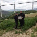 Lynn & Sean proudly showing off the April 25th edition of The Advertiser at the Millau viaduct.