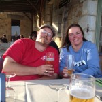 Sean & Lynn enjoying a beer at a French cafe.