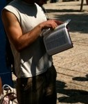 Eyal from Hebrew U. reading Acts 10.9-16.  He had been a medic with the IDF, now an art student at Hebrew U. This was in Jaffe.
