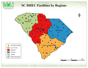 DHEC to reduce number of administrative regions from 8 to 4, effective March 1, 2013.