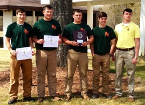 STHS FFA Agronomy Team. (L-R): Trent Miller, Ryan Thurmond, Ben Rohr, Scott Sherman, and Zack MacDougal (SC FFA Association).