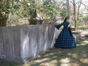 Tonya Browder, in costume of the Victorian period, conducted the cemetery tour at Willowbrook during Second Saturday.