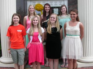 Pictured left to right bottom row: Meryl Prince, Maggie Childress, Kaeli Wates, and Kaylee Bryant; top row left to right:  Morgan Williams, Lauren Williams, and Madison Porterfield