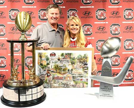 Beth Robertson Clark Presents Limited Edition of USC to Coach Spurrier
