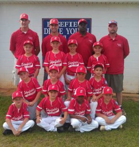 Players L to R: (Front row) Ike Rodgers, Ryan White, Emery Jones & Caleb Hammond. (Second Row) Jacob Mims, Ben Jolly, Dallas Hitt & Drew Johnson. (Third row) George Agner, Chase Sturkie, Chandler Mims and Josh Knowles.   Coaches L to R: Lang Rodgers, Dean Patterson, Travis Jones and Jason Mims.