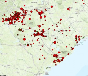 This map shows firefly observations. image by: Clemson University