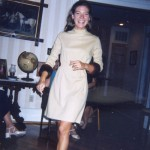 Modeled by a friend at a party some years ago, this is Jean's favorite: a beige wool dress with mink cuffs on the sleeve.