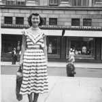 Jean in N Y City in the early 50s, wearing here one of the 50s wardrobe pieces.