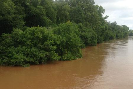 Rains Raise Stevens Creek to Near Flood Stage
