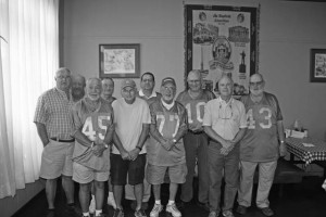 Green and Gold gridiron heroes, from a few years back, gathered for their annual fried chicken, corn bread and sweet ice tea reunion last week at Ten Governors.  In attendance were: front row left to right Mayor Billy Padgett, William Bryan, Billy Murphy, Billy Doolittle, Ronnie Creswell, Robert Stark.  Back row left to right:  Charles Doolittle, James Robert Sprouse, Joe Shaffer, Jimmy Painter.