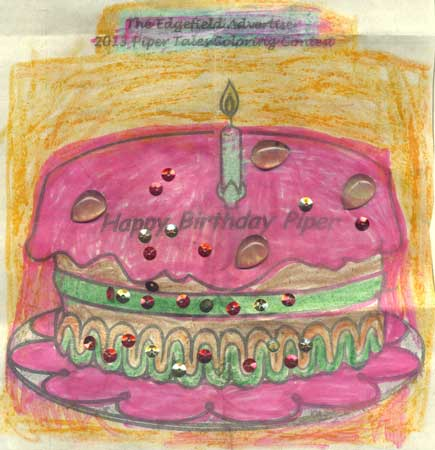 Winner of Piper Tales Birthday Cake Coloring Contest!