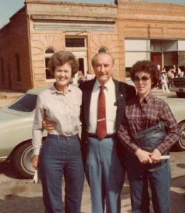 1981, Sen. Strom Thurmond at the First Ridge Spring Harvest Festival. L-R Loris Yonce, Sen. Thurmond, Louise Shealy