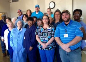 Hospital employees wore blue in remembrance of Rare Disease Day.