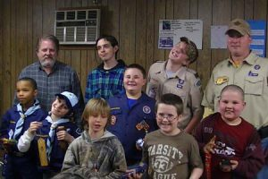 Pictured are front row Cub scouts William Bush-Jackson, Caleb Torgesen, Kottn Dukes, Aubrey Aston, Dakota Lindsey and Jonah Corley. Back row Scout master Lee Williams, Ryan Deese, Schump Aston and Assistant Scout Master Chris Aston.