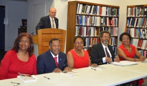 Authors of Our Ancestors, Our Stories – left to right,  Ellen Butler, Vincent Sheppard, Ethel Dailey, Harris Bailey, and Bernice Bennett. Doug Timmerman, President of OEDGS is standing behind the podium.
