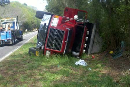 Overturned Dump Truck Ties Up Traffic on the Westside