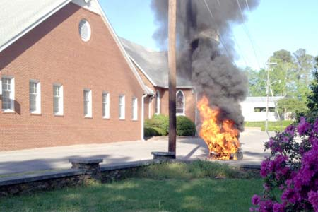 Moped Blaze in Church Parking Lot