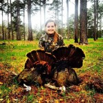 Susannah Hammond, 16 years old with her first two turkeys. 15 lbs and 16 lbs.