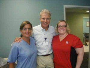 Dr. Mac and his team who run his office, in Edgefield: (left) Nikki Mode and Jessica Hutto.