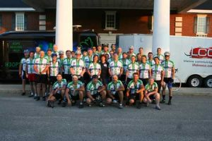 The riders grouped for this photo before continuing their trek after a restful night's sleep at the Edgefield Inn.