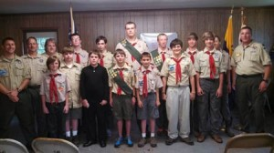 Pictured front row; T.J. Faye, Cameron Wood, Walker Harding, Marshal Smoak, Parker Kelly, Will Clark, Bradley Kemp. Back row; Den leader Richie Kelley, Cub Scout Master Adam Faye, Scoutmaster Lee Williams, Dalton Bell, Ryan Deese, Tucker Goff, Schump Aston, Johnathan Kemp, Gabe Gable and Asst. Scout master Chris Aston.