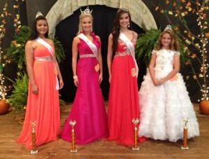 Left to right: Young Miss Teen Rachel Simpkins, Miss winner Grayson Lake, Young Teen Miss Rebekah Holsenback, and Young Miss Karson Turner.  The winning Miss is Grayson Lake.
