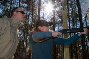 The creation of new shooters began today at the Palmettto Shooting Complex at the NWTF. Ryan Bronson of ATK/Federal provided some shooting tips to Kelly Grummert of Nationwide Insurance.