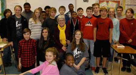 Author and Columnist Meets with Students at Merriwether Middle School