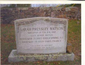 Sarah Pressley Watson's gravestone in Ridge Spring Cemetery.