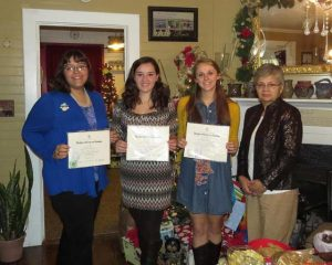 Good Citizens Award winners are left to right:  Miranda Mullins, Strom Thurmond High, Paige Fowler, Foxcreek High; Rachel Sanders, Strom Thurmond  High; Mary Watson, Good Citizens Chairperson.  Kayla Stephens from Saluda High was unable to attend.