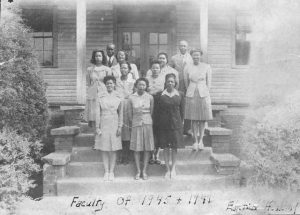 William Erskine Parker stands (in Back) to the far right with his faculty at the Edgefield Academy, 1945-46.