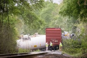 April 10, 2015 derailment of Norfolk Southern freight train near Salter's Pond Road in Trenton, S.C.  Photo Credit: Robert H. Norris, III/Advertiser Staff