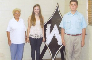 Essay winners, Beth Warnken and Turner Miles Peeples (far right); far left is Mrs. Piekielniak of the American Legion Auxiliary, sponsoring organization.