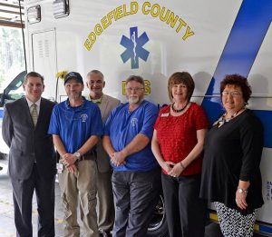 Piedmont Technical College and Edgefield Emergency Medical Services will be partnering to offer the emergency medical technician certificate at the Edgefield Count EMS Station One. Pictured are, from left, Dr. Jack Bagwell, PTC vice president for academic affairs; Raymond Batchelor, director of Edgefield EMS; Rusty Denning, PTC associate vice president for Continuing Education; Michael Butler, Edgefield EMS training officer and instructor; Deborah Hoffman, PTC continuing education program manager for health and safety; and Vickie Baldwin, Edgefield liaison for PTC Continuing Education.