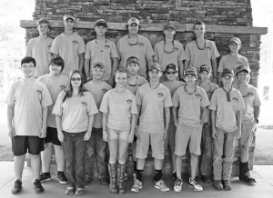 left to right. Front row: Matt Wash, Caylin Arbaugh, Kaitlyn Quarles, Eric Rodgers, Colby Martin, Preston Miller. Middle row: Thomas Wherle, Stetson, Mayson, Glen Blythe, Will Hood, Justin Greene, Whit Guess. Back row: Andy Hoffman, Brandon Pugh, Hunter Herrin, Geddings Jhant, Andrew Jackson, Austin Hall, Walker Kelly.