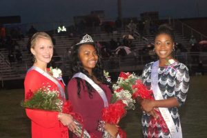 L to R: Bea Faust, 2nd runner-up, 2015 Homecoming Queen Lyric Tillman, and 1st runner-up Shelby Mims.