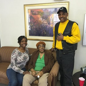 Kindra Sterling, manager of Villages of Beaver Dam, was one of the hosts for residents.  She is seated with a resident, Mrs. Nicholson, and standing is Mike Walker who did much of the organizing.