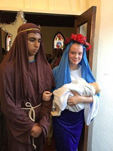Joseph and Mary as they left the Methodist church.