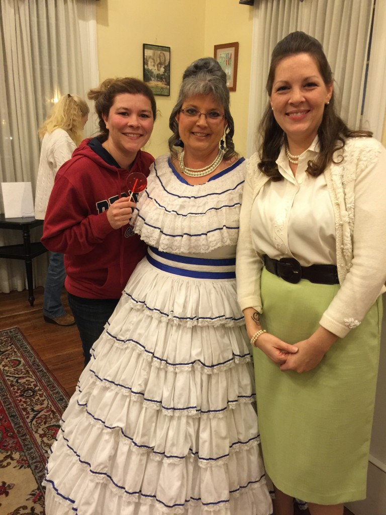 The stars of the production at the William Miller Bouknight Theatre, members of the Edgefield County Theatre (not players as explained by a spokesman): left to right, Karen Brotherton, Sister; Ruth Bledsoe, the hostess; Kristen Castillo, the daughter.