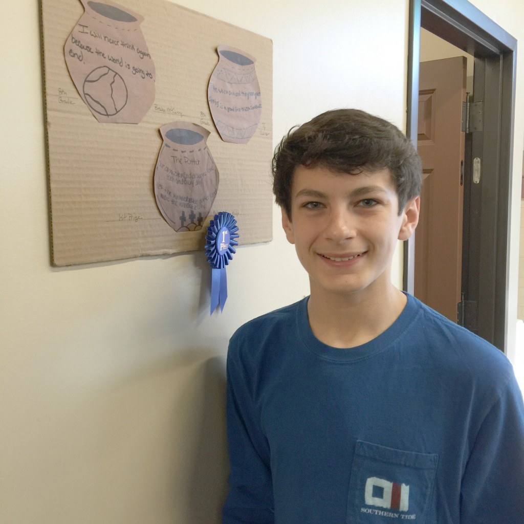 Nathan Alan Kulp of Trenton won the First Place Blue Ribbon in the Couplet Contest sponsored by the Poet Laureate of Edgefield, Laurel Blossom.