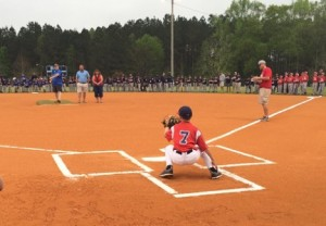 Bill Cheatham throws first pitch for 2016 officially opening the Bill and Charlotte Cheatham Dixie Youth Season in Edgefield.