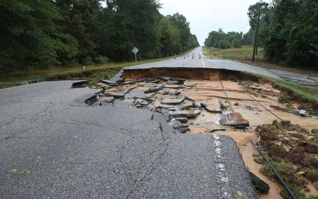 Recent heavy rains and floods caused many roads and small bridges to wash out.