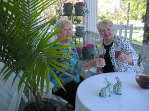 "Doris Rhodes, Chairman of the Women's Club of Johnston Fashion Show, and Bobbie Pullon, Co-Chairman, enjoy an afternoon planning the décor and the luncheon for The Club's Fashion Show event themed ""Palmetto Hospitality."""