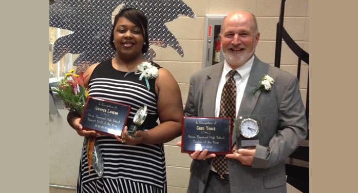 Strom Thurmond High School winners, SSOY 2016, Jennifer Lanham; TOY 2016, Gregg Yonce.