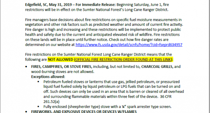 High Fire Danger prompts Sumter National Forest Long Cane Ranger District to implement fire restrictions starting June 1