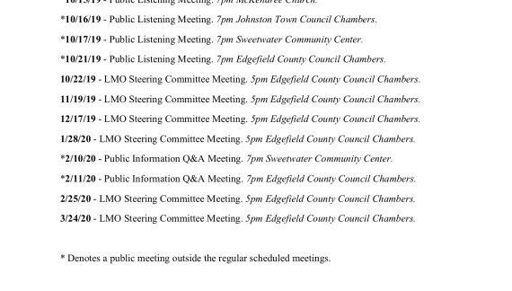 Edgefield County LMO Steering Committee Meeting Schedule