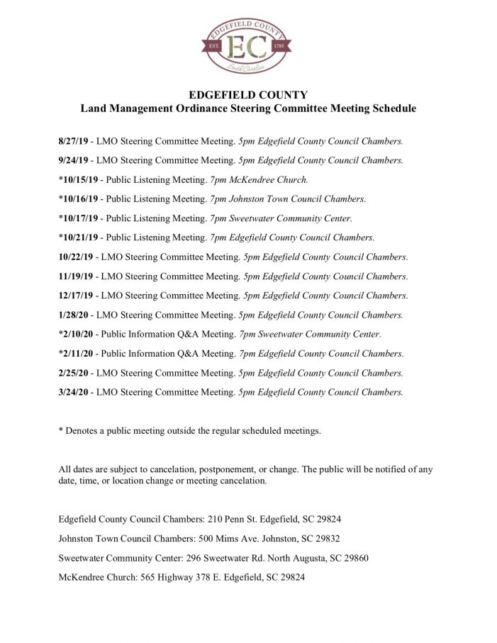 Edgefield County LMO Steering Committee Meeting Schedule