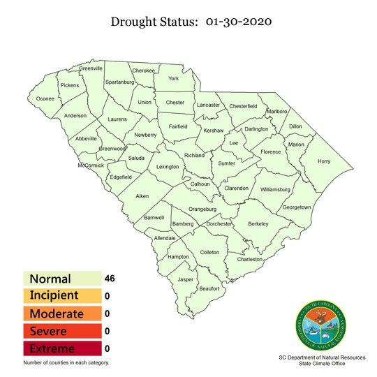 All South Carolina counties declared drought free
