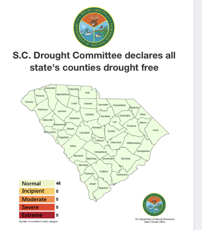 S.C. Drought Committee declares all state's counties drought free